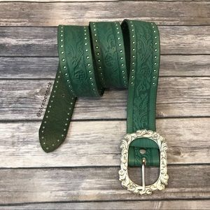 Enmon Green Leather Belt